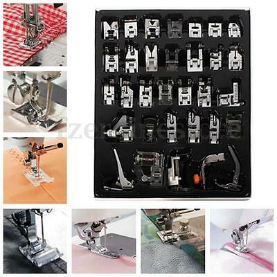 New 32Pcs Domestic Sewing Machine Presser Foot Feet Kit Set For Brother Singer