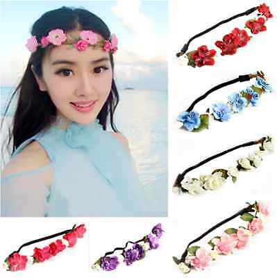New Boho Style Floral Flower Rose Party Wedding Hair Wreaths Headband Hair Band