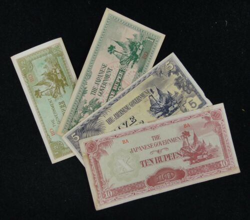 BURMA WWII Japanese Government 10 5 1 1//2 Rupees Notes