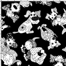 Loralie Fabric Doodle Dogs Black white tossed Woof ! cotton sew quilt craft BTY