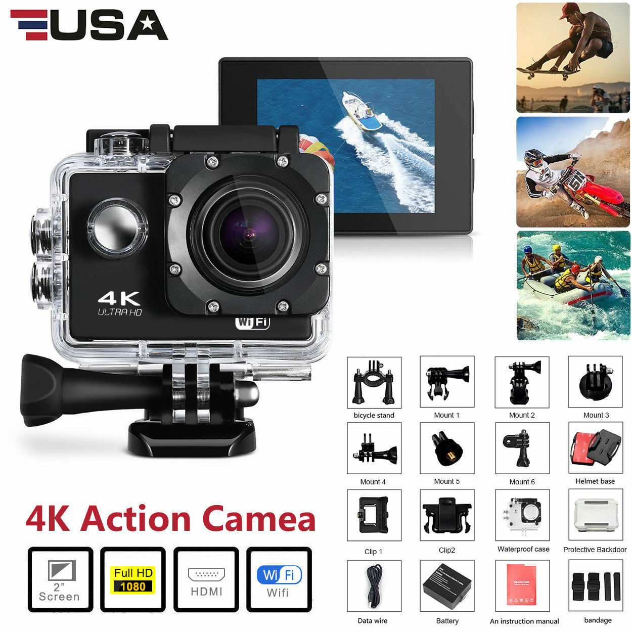 Go As Pro 4K Ultra HD DV 16MP 1080p Sports Action Camera+Full Accessory Bundle Featured