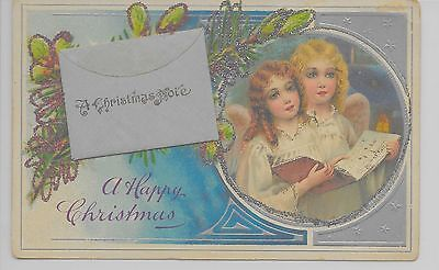 Happy Christmas angels songbook attached envelope glitter antique pc (Z10344)