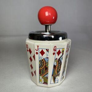 "Playing Cards Vintage Retro Push Down Ceramic 6"" Ashtray Man Cave Poker Gambling"
