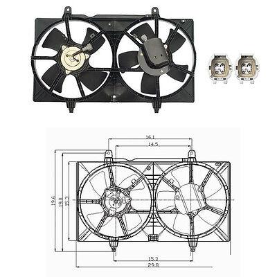 Dual Rad /& Cond Fan Assembly Fits 2002-2006 Nissan Sentra L4 1.8L