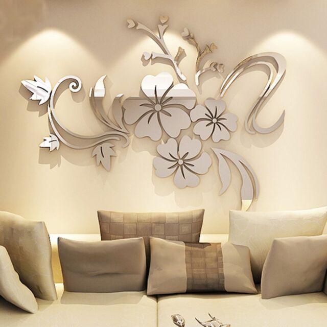 Wall Art Sticker 3d Mural Floral Flower Mirror Acrylic Living Room ...