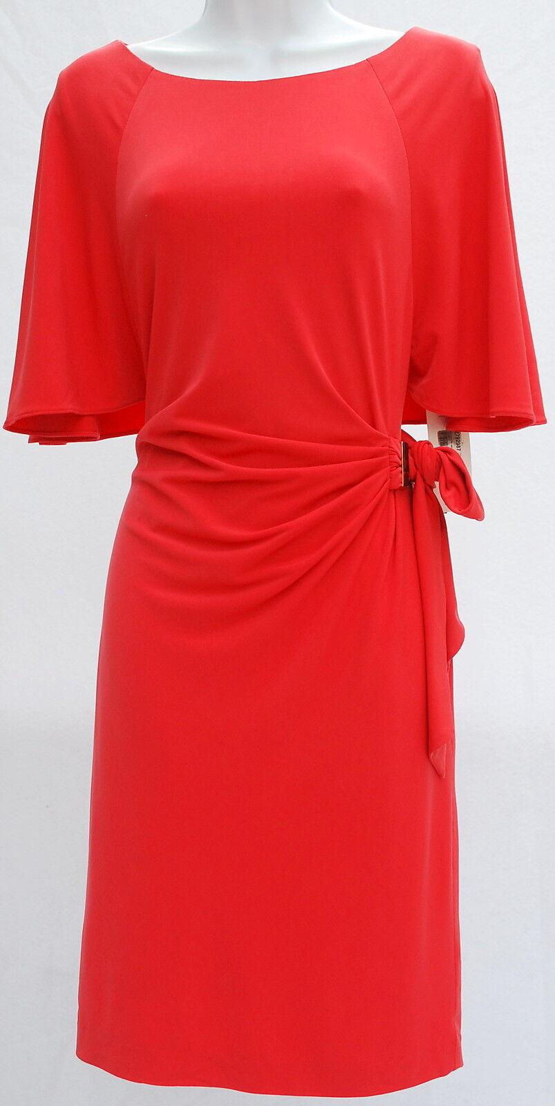 TAHARI waist tie coral cocktail occasion elegant classy damen dress sz 10