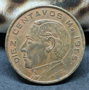 1955 ESTADOS UNIDOS MEXICANOS 10 Centavos BRONZE Coin KM# 433 XF