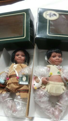 "Boy /& girl 6/""  porcelain,jointed Indian Geppeddo Dolls Native American Set of 2"