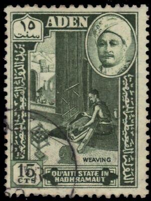 """- Sultan Ghalib """"weaving"""" 1955 Deep Green sg31 Aden Quaiti 31 pa94965"""