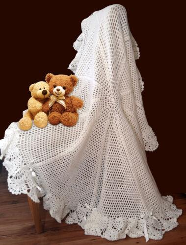 Round Picot Flower Shawl Crochet PATTERN!! Gorgeous Warm Baby Blanket. DK
