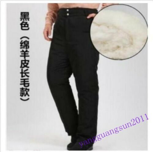 Mens Women Fur Lined Pants Snow Casual Trousers Warm Outwear Thicken Winter Size
