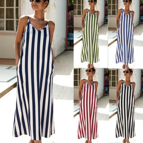 Striped Long Maxi Dress Women/'s Sleeveless Casual Loose Holiday Beach Sundress