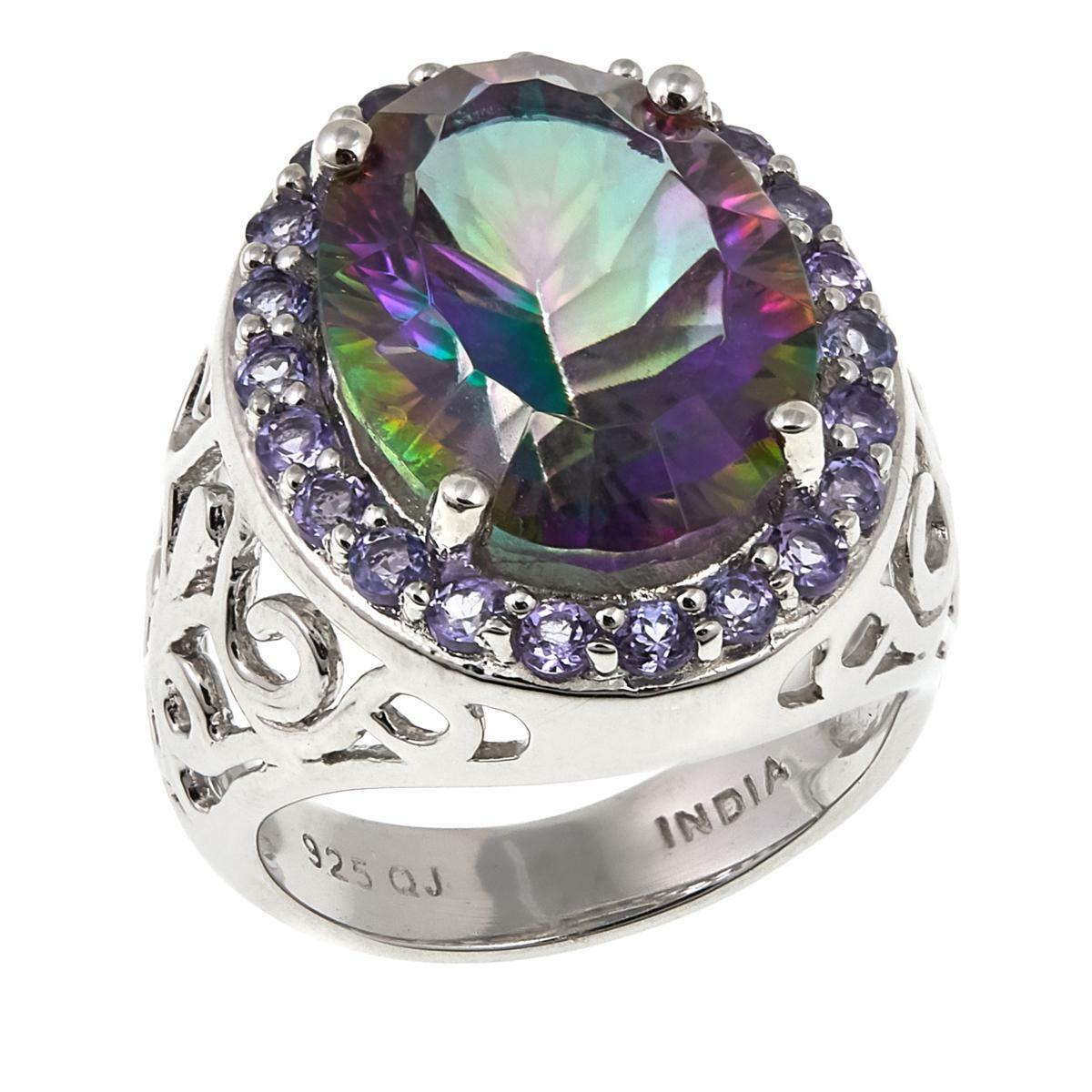 COLLEEN LOPEZ 8.70CT RAINBOW QUARTZ & TANZANITE STERLING RING SIZE 10 HSN  139
