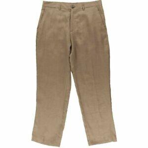 Tasso-Elba-NEW-Brown-Mens-Size-38-Linen-Straight-Leg-Flat-Front-Pants-65-250