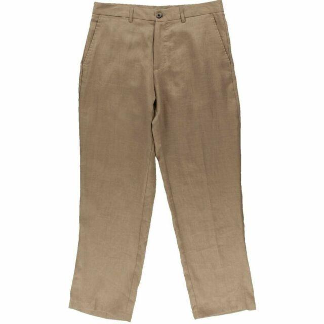 Tasso Elba NEW Brown Mens Size 38 Linen Straight Leg Flat-Front Pants $65 250