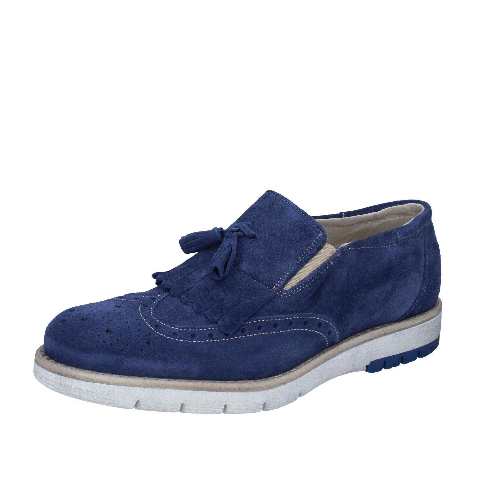 scarpe uomo KEP'S 44 classiche blu camoscio BZ886-F