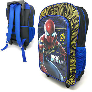 Iron-Spider-Deluxe-Kids-Luggage-Trolley-Backpack-Cabin-Bag-Suitcase-On-Wheels