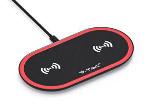 Caricatore-Wireless-a-Pad-Doppia-Carica-Dual-Charging-5W-5W-Colore-Rosso-e-Nero
