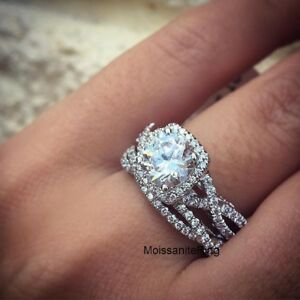 Image Is Loading 2 22 Ct Round Cut Moissanite Halo Bridal