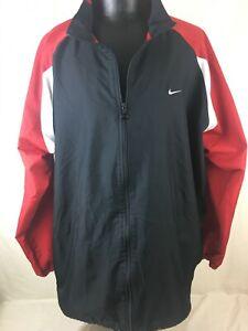 Nike-Windbreaker-Wind-Breaker-Jacket-Red-Black-White-Men-039-s-3XL-Full-Zip-Up