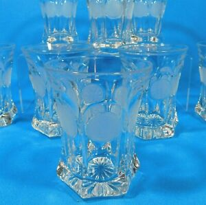 Fostoria-Coin-Glass-Clear-Crystal-4-25-034-Frosted-Coin-Tumblers-Set-of-8
