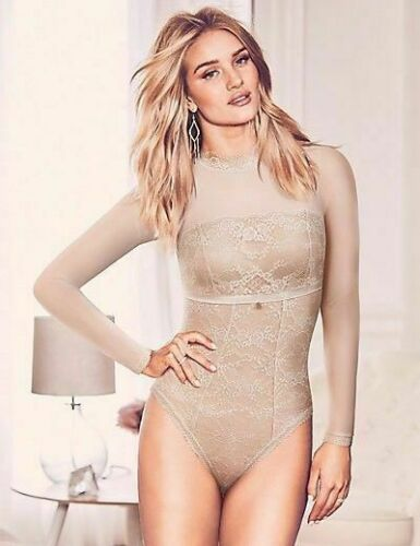 BNWT M/&S Rosie for Autograph Nude French Lace Silk Trim Long Sleeved Body
