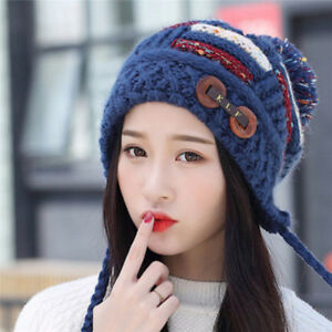 4ce8781dedc62 Women Winter Warm Thick Pompom Beanie Hats With Ear Flaps Knitted ...