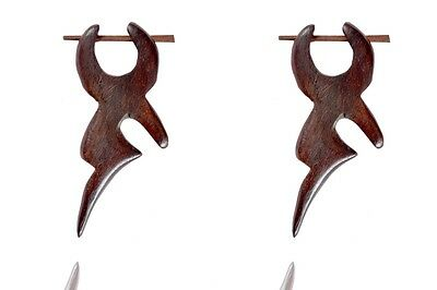 Tibetan Tribal Craft Handmade Orange Color Round Resin Wood Stick Earring WER298