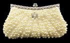 Women's Pearl Diamante Evening Bag Clutch Bridal Wedding Purse Shoulder Prom