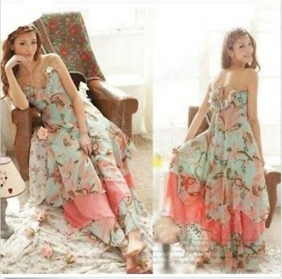 NEW Summer Women Floral V-Neck Beach Boho Maxi Sundress Long Irreguler Dress