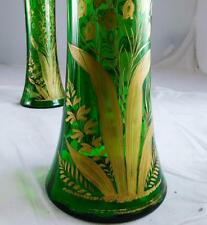 ANTIQUE PAIR FINE MOSER BOHEMIAN GLASS VASE ART NOUVEAU VASE LILLY OF THE VALLEY