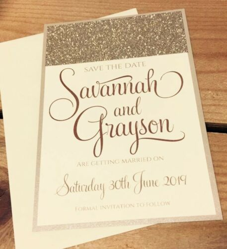 Savannah champagne//gold glitter save the date sample with envelope