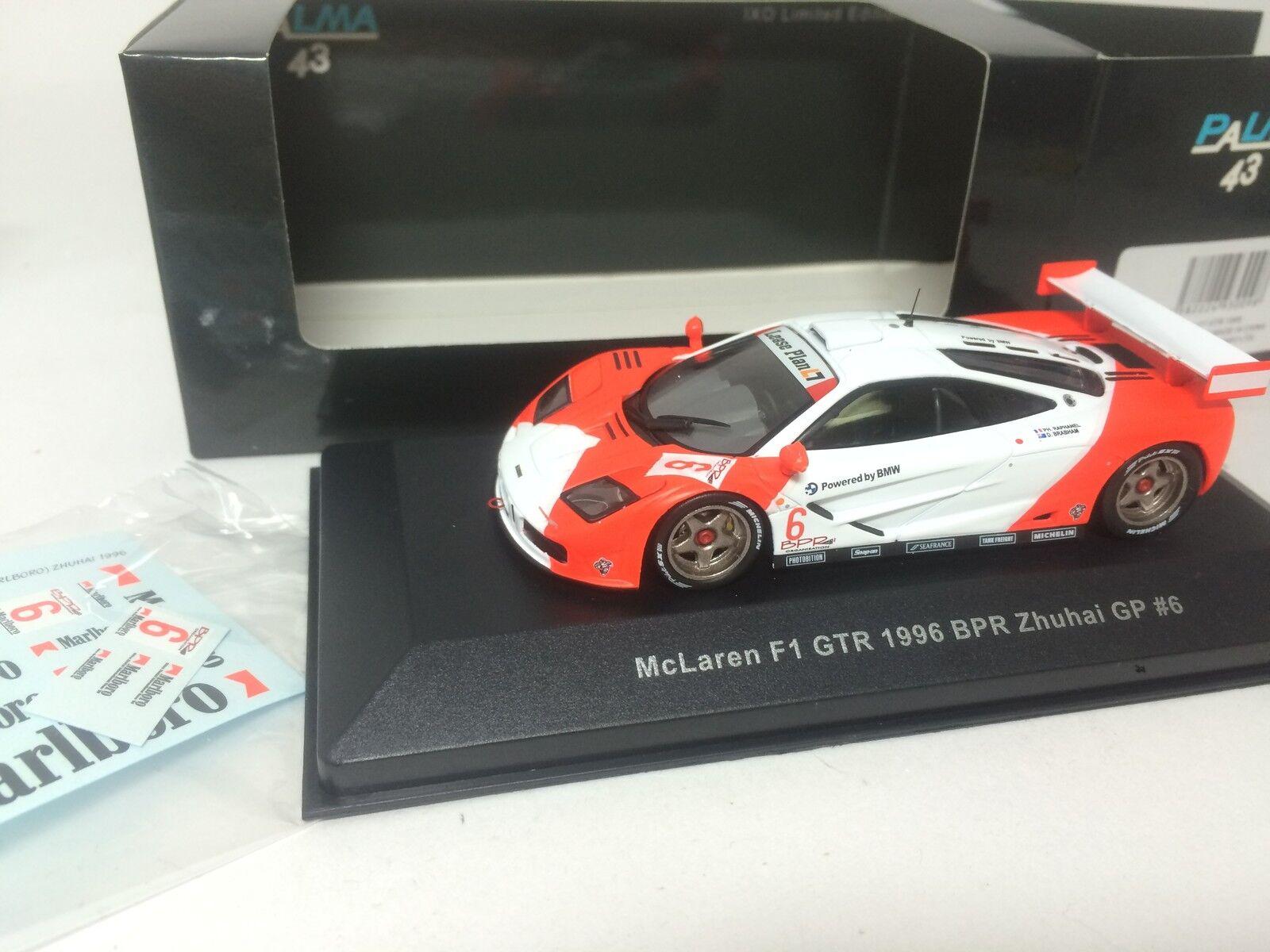1 43 IXO Palma 43 McLaren F1 GTR 1996  Bpr Zhuhai GP  6 avec autocollant 40009  vente avec grande remise