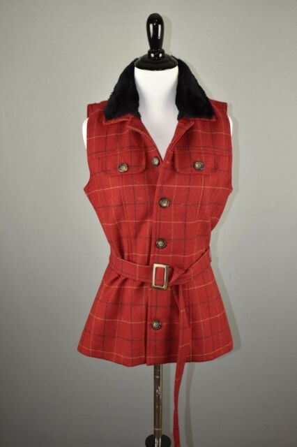 Harold's Women's Red Plaid Black Faux Fur Sleeveless Wool Vest 2 NEW $148