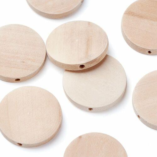 Madera Natural Cuentas de madera libre de plomo plana redonda Mocasín agujero 25x5mm 2mm 10 un