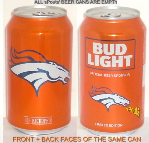 2016 DENVER BRONCOS NFL KICKOFF BUD LIGHT BEER CAN SPORT CHAMP COLORADO FOOTBALL