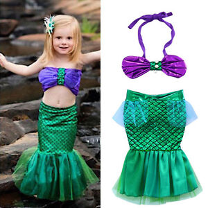 Hot-Bebe-Filles-LITTLE-MERMAID-Set-Costume-Bikini-Swimwear-maillot-de-bain-tenues-Robe