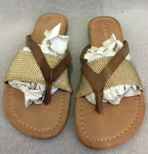 Rampage Thong Sandal Brown Leather Size