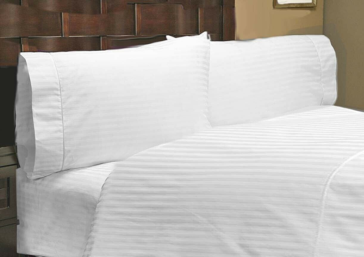 1000 Thread Count 100% Egyptian Cotton Queen White Striped Fitted Sheet+Pillow