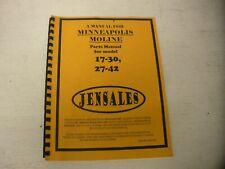 Minneapolis Moline Models 17 30 Amp 27 42 Parts Manual New Free Shipping