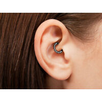 Cartilage Earring With Cz Gems Black Ion Plated 16ga