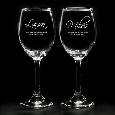 Personalised Pair Of Engraved Wine Glasses Parents Mother Father Of The Groom
