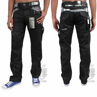 New Mens Enzo Denim Black Jeans Designer Coated Waist Size 30 32 34 36 38 40 42