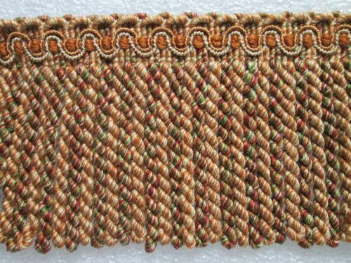 "BULLION FRINGE 5/"" Upholstery Fabric Trim Spain INF509 7 yards RUST//CREAM//GREEN"