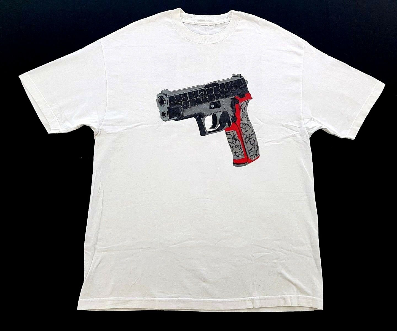 Vintage PFK Hype Kills Gun White Tee Jordan Elephant Print Size XL Mens T Shirt