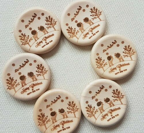 30mm TREE LUXURY WOODEN CHRISTMAS DESIGN BUTTONS XMAS UK REINDEER WINTER