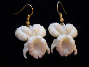 Vintage Unique Celluloid Earings, Orchid Flowers Beautifully Detailed