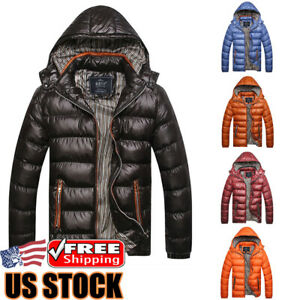 Men-039-s-Winter-Warm-Hooded-Thick-Padded-Jacket-Zipper-Casual-Parka-Outwear-Coat-US