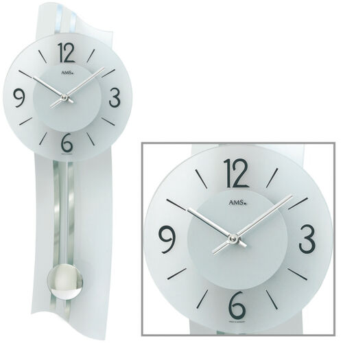 AMS 7239 Wanduhr Quarz mit Pendel silbern modern geschwungen Pendeluhr mit Glas