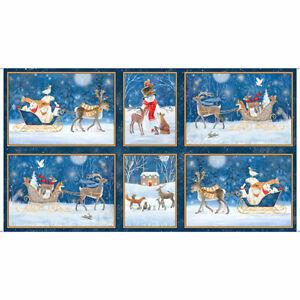 Christmas-Animals-Snow-Sleigh-Blue-Cotton-Fabric-QT-Woodland-Dream-24-034-X44-034-Panel